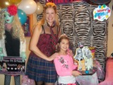 melanie from party pals posing with the birthday girl during a monster high birthday party in toronto