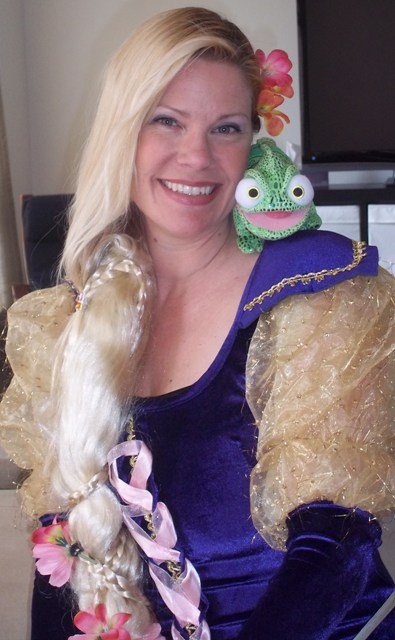 Party Pal's founder Melanie dressed up in Costume for a Rapunzel Party in the GTA