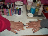 girls showing their newly painted nails during a mobile spa party in the gta